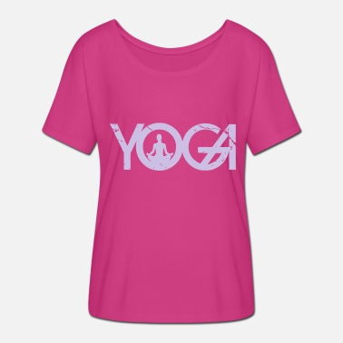 Keyword Yoga lettering with woman in grunge style - Women's Batwing-Sleeve T-Shirt by Bella + Canvas