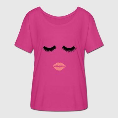 Pink lips and eyelashes. Beautician.Make up artist - Women's Batwing-Sleeve T-Shirt by Bella + Canvas