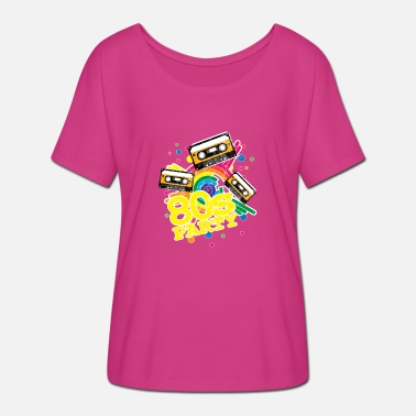 Disco 80er Jahre Kassette Neon Party Bunt Old School - Frauen Fledermaus T-Shirt