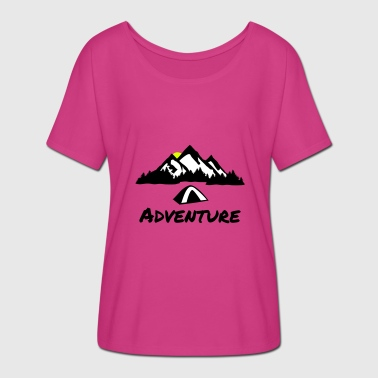 Camping Nature Adventure, Mountains & Forest - Women's Batwing-Sleeve T-Shirt by Bella + Canvas