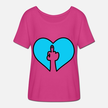 Fuck You Hand Fuck you hand heart - Women's Batwing-Sleeve T-Shirt by Bella + Canvas