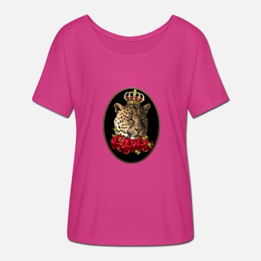 Cirrus Crowned leopard with red roses. - Women's Batwing-Sleeve T-Shirt by Bella + Canvas