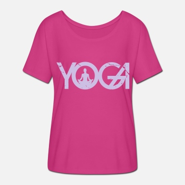 Keyword Yoga writing with woman in grunge style - Women's Batwing-Sleeve T-Shirt by Bella + Canvas