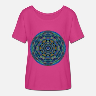 Hippie Mandala Psychedelic Hippie Colorful Pattern Goa Colors - Maglietta con maniche a pipistrello donna