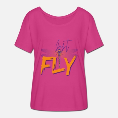 Just Fly Just Fly - DRAGONFLY - Orange Purple - T-skjorte med flaggermusermer for kvinner