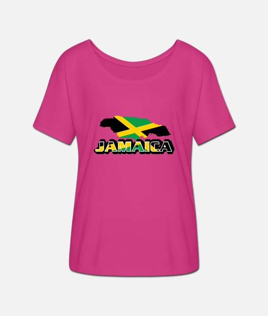 Rasta T-Shirts - Jamaica Premium Country Country T-shirt - Women's Batwing T-Shirt fuchsia red