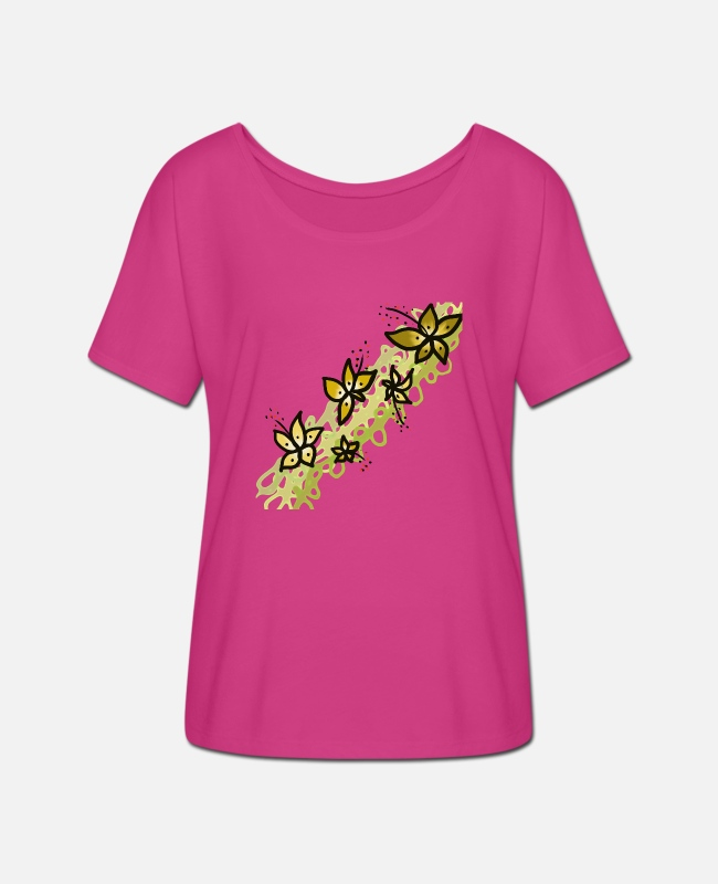 Pattern T-Shirts - flowers - Women's Batwing T-Shirt fuchsia red