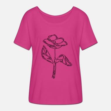 Drawing Flower line drawing - Women's Batwing T-Shirt