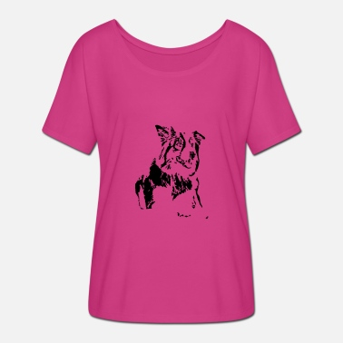Dog border collie design - Women's Batwing T-Shirt