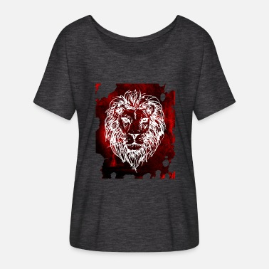 Red Head Lion's head red - Women's Batwing-Sleeve T-Shirt by Bella + Canvas