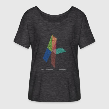 Four Lines Abstract design graffiti the inverse four - Women's Batwing-Sleeve T-Shirt by Bella + Canvas