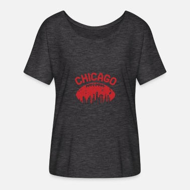 Chicago Bears Chicago Illinois Cityscape Retro Fodbold T-Shirt - Dame T-shirt med flagermusærmer fra Bella + Canvas