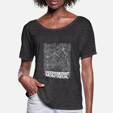 Area Straight Outta Montreuil city map and streets - Vrouwen T-shirt met vleermuismouwen