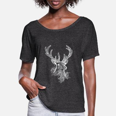 Tribal Renne Tribal Deer Forest Tattoo Orner Antler - T-shirt manches chauve-souris Femme