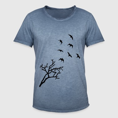 Tree and Birds, Freedom - oiseaux - T-shirt vintage Homme