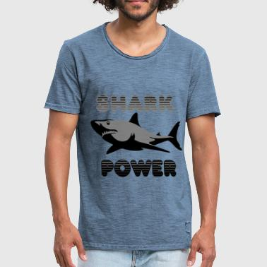 Black-power Shark Power Black - Herre vintage T-shirt