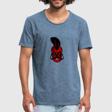 head of death crane hipster mustachioed mustache tat - Men's Vintage T-Shirt