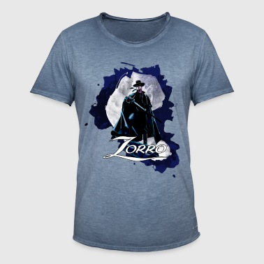Zorro Hero By Night Standing On A Rooftop - Mannen Vintage T-shirt