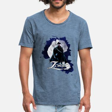 Don Diego De La Vega Zorro Hero By Night Standing On A Rooftop - Men's Vintage T-Shirt