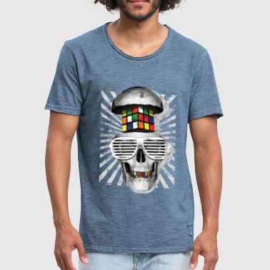 Rubik's Cube Skull With Sunglasses - Men's Vintage T-Shirt