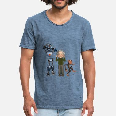 Albert Einstein Three Monkeys con robot, Albert & Monkey - Maglietta vintage da uomo