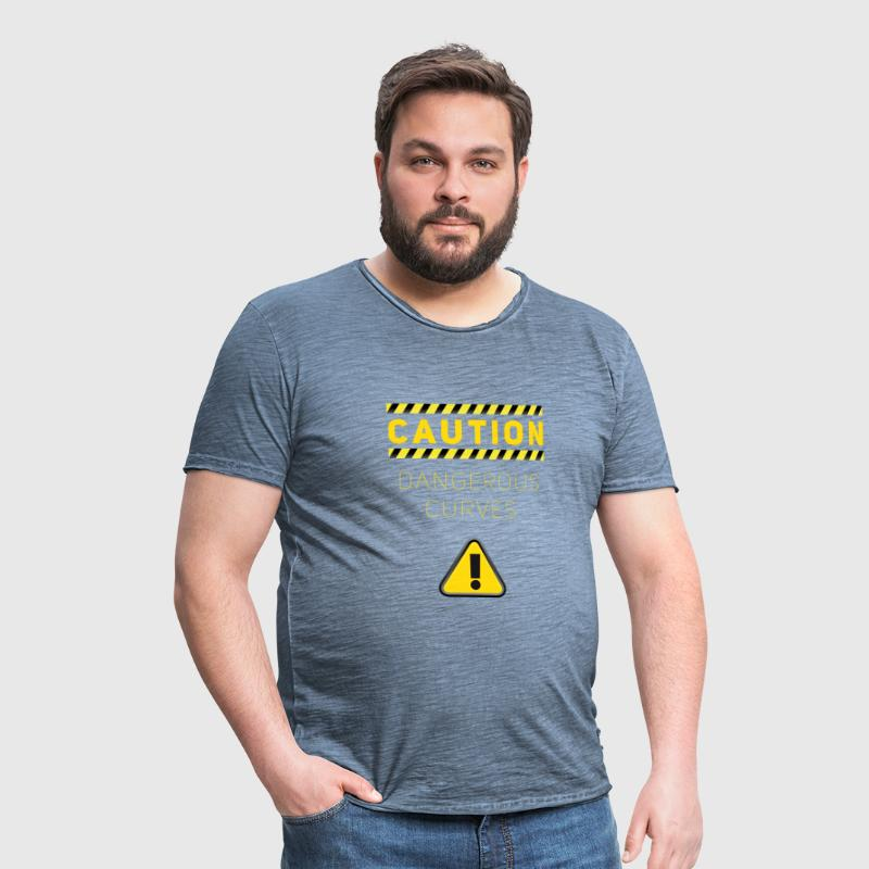 dangerous curves Caution BBW fun funny hip - Men's Vintage T-Shirt