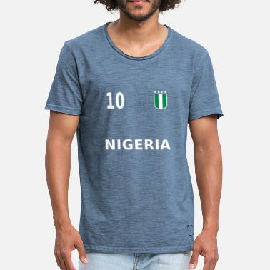 Footballers Jersey Number Nigeria fan jersey football 2018 number 10 - Men's Vintage T-Shirt