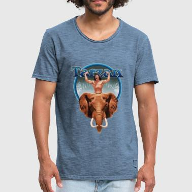 Tarzan Power with Elephant - Mannen Vintage T-shirt