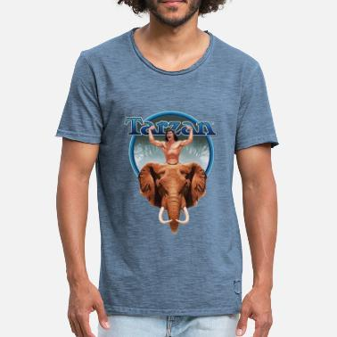 Tarzan Power with Elephant - Men's Vintage T-Shirt