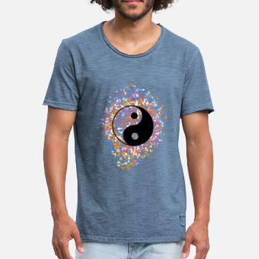 Yin Yang, splashes of color, point, color, colorful, - Men's Vintage T-Shirt