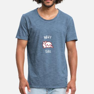 Manga Kawaii Little Seal - Manga Kawaii Seal - Men's Vintage T-Shirt