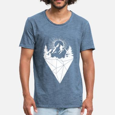 mountain sun grunge white - Vintage-T-shirt herr