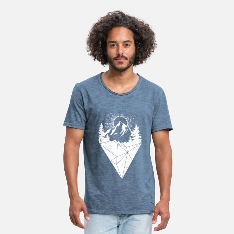 Collections T-shirts - mountain sun grunge white - T-shirt vintage Homme vintage bleu jeans