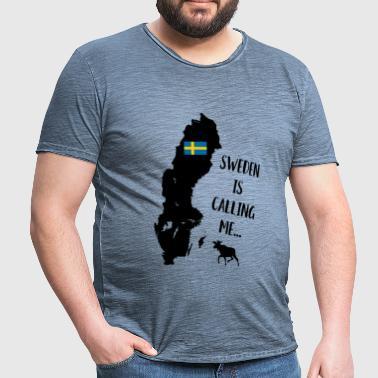 Sweden Fan Swedish Map Flag Elk Saying - Men's Vintage T-Shirt