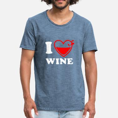 Wiskey WINE VINO WINE LOVE I LOVE WINE ALCOHOL ALCOHOL - Men's Vintage T-Shirt