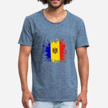 Moldova Flag Moldova flag color splashes - Men's Vintage T-Shirt
