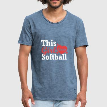 This girl loves softball - Men's Vintage T-Shirt