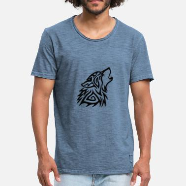 Howling Wolf Tribal Wolf Howl - Men's Vintage T-Shirt