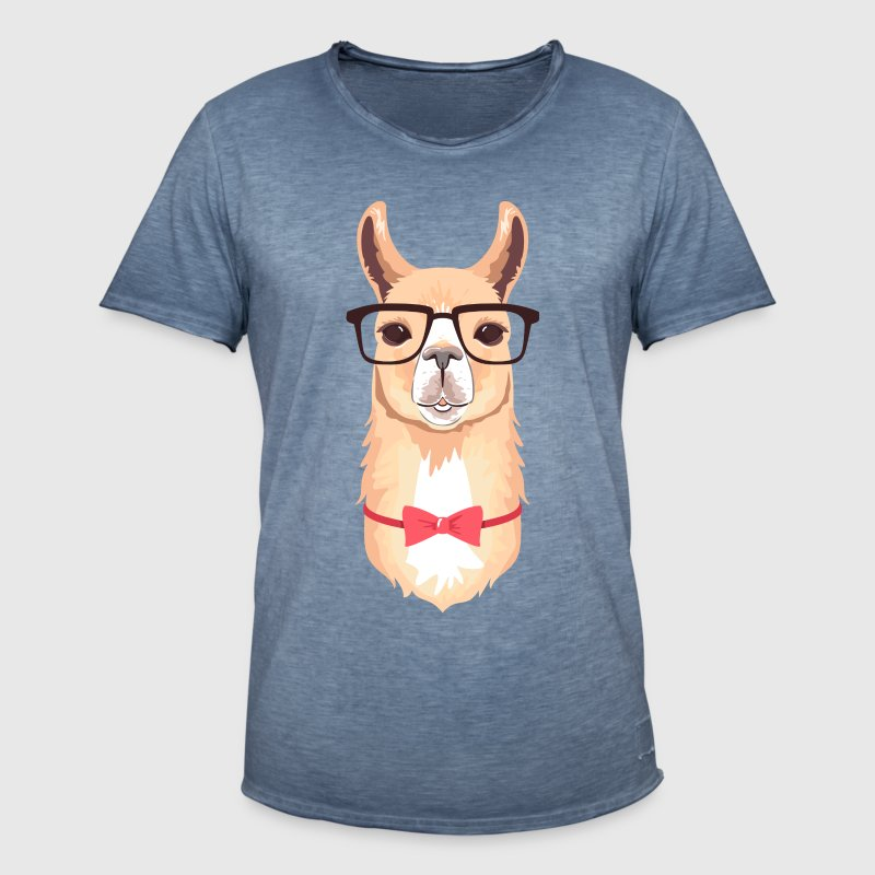 Funny Hipster Llama  | Bow Tie | Glasses  - Men's Vintage T-Shirt