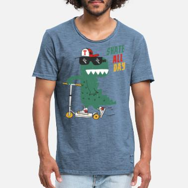 Humour Alligator de patinage - T-shirt vintage Homme