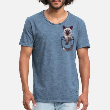 Pocket Sød Siamese Cat Kitten - Vintage T-skjorte for menn