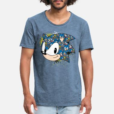 Pixel Sonic The Hedgehog Pixel Head - T-shirt vintage Homme