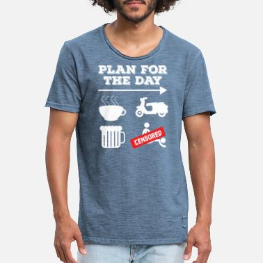 Humor Coffee Moped Beer Sex Doggystyle Plan Day - Men's Vintage T-Shirt
