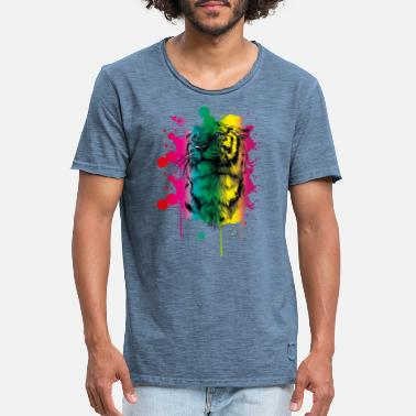 Indochinese Tiger Pastel Watercolor Rainbow - Men's Vintage T-Shirt