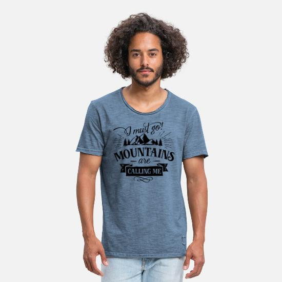 Are T-Shirts - Mountains are calling - Männer Vintage T-Shirt vintage Denim