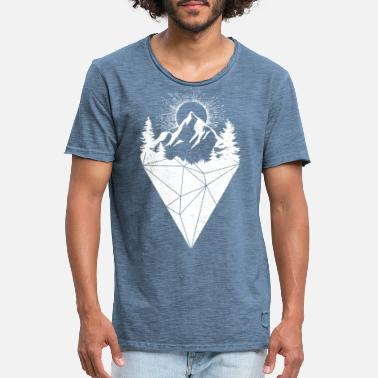 Nature Collection mountain sun grunge white - Vintage T-skjorte for menn