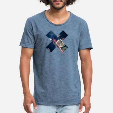 ART15 blue cross - T-shirt vintage Homme