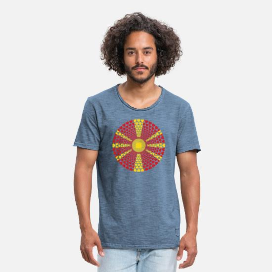 Love T-Shirts - Macedonia Macedonia Love HEART Mandala - Men's Vintage T-Shirt vintage denim
