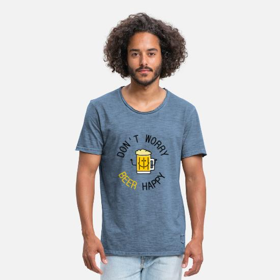 Humour T-shirts - dont worry beer happy - T-shirt vintage Homme vintage bleu jeans