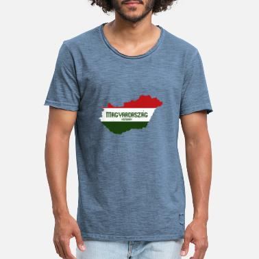 Flag Hungary map & flag - Camiseta vintage hombre